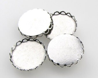 Cameo Setting Antiqued Silver Ox Round Filigree Lace Edge 18mm Cabochons set0239 (4)
