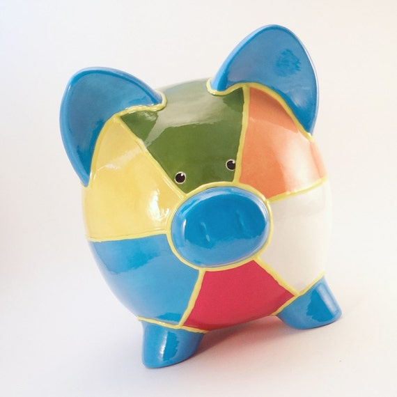 Beach Ball Piggy Bank - Personalized Piggy Bank - Vacation Piggy Bank - Personalized Ceramic Piggy Bank - with hole or NO hole in bottom