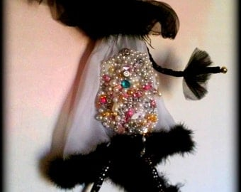 Primitive Halloween Couture Paper Mache Black Cat With Jewelry Embellished Costume