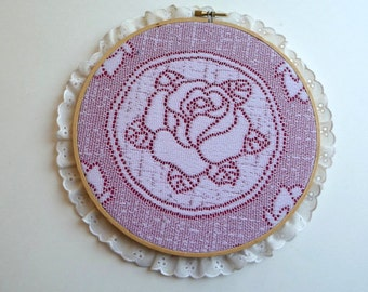 SALE vintage rose, wall hanging, vintage handmade, wood, embroidery hoop, home decor, eyelet, lace trim,shabby and chic,unique,wall art,love