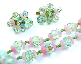 Prettiest Vintage VENDOME Jewelry Set, Women Gifts Pastel Pink Mint Green Faceted Glass Double Strand Necklace Earring  Demi Parure