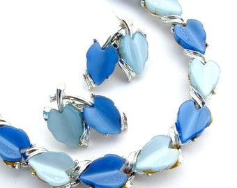 kiamichi7 Retro Sapphire and Sky Blue Jewelry Set, Heart Leaf Necklace Earrings