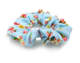 Small Blue Hair Scrunchie Pastel Hair Tie Strawberry Shortcake Retro 80s 90s Scrunchie Ponytail Holder