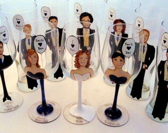 Painted Wine Glass Bridesmaid Gifts - 11-Custom Bridal Party gifts,Groomsmen gifts-personalized Caricature Wine Glasses