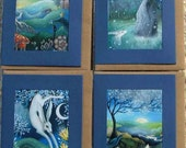 A set of 4  Artist made greeting cards. Theme is Yule, Imbolc, Ostara and Beltane