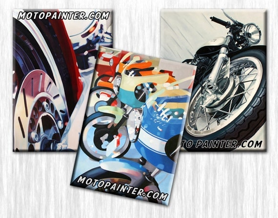 Motorcycle Art Magnets by Guenevere Schwien MotoPainter