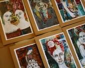 set of 6 art cards by jane spakowsky (B)