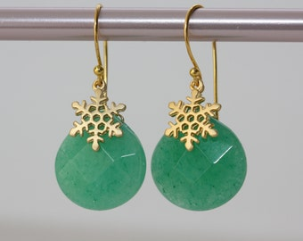 Snow Flakes with Chrysoprase Green Jade Earrings, Holidays Gifts, Green Earrings, Gift for Wife