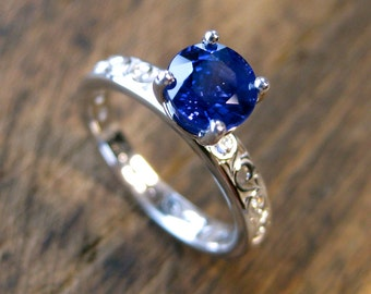 Blue Ceylon Sapphire Engagement Ring in 14K White Gold with Diamonds as Accent Stones in Scrolls Size 5