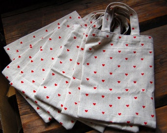 Organic linen small market bag purse tote,  red hearts, Christmas, 8x10""