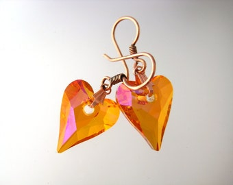 Swarovski Astral Pink Wild Hearts And Copper Earrings