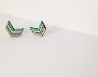 Chevron Earrings/Turquoise and Gold Chevron Earrings/Simple Chevron Earrings/