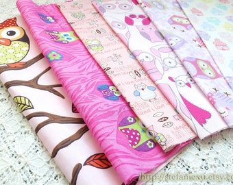 S059 Fabric Scraps Bundle Set - Pink Colorway Rainbow Color Lovely Hoot Owls Collection (6PCS, 9.8x9.8 Inches)