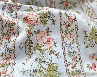 Shabby Chic Pink Rose Floral Flower Garden Branch Stripe On Blue - Cotton Fabric (Fat Quarter)