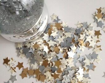 Graduation Confetti Wedding Birthday Confetti White, Silver and Gold Mini Stars