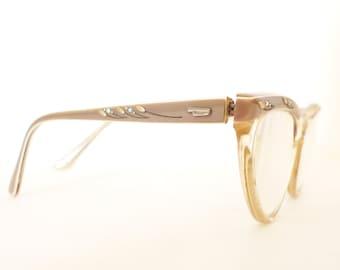sale Vintage 50s 60s Rhinestone Cat Eye Frames / USA Eyewear / CatsEyes EyeGlasses Sunglasses Taupe and Translucent
