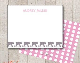 Kids Stationery // Girls Stationary // Baby Shower Thank You // Birthday Thank You // Elephant Polka Dot Stationery