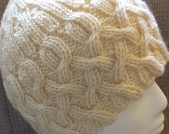 Hand Knit Cable and Rib Wool Hat - Cathedral - Aran