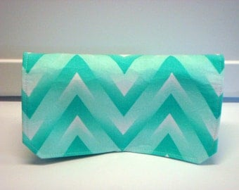 Coupon Organizer Wallet / Budget Organizer Holder- Attaches to your Shopping Cart - Turquoise Green  Zig Zag