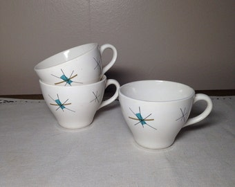 60s NORTH STAR Mid Century Atomic Cup Set of 3