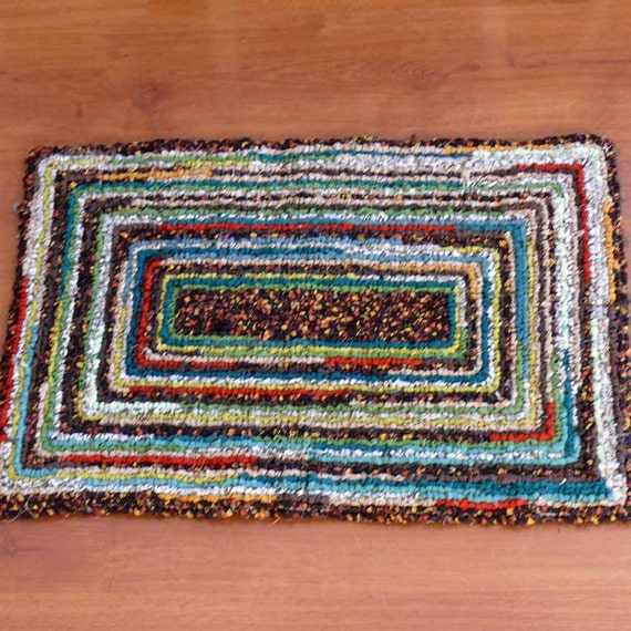 Autumn Brown And Earthy Green Recycled Locker Hook Rug