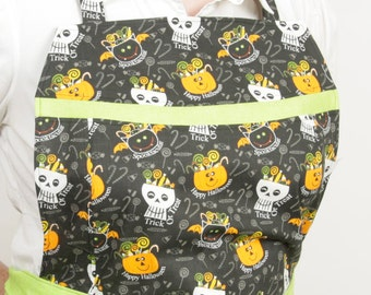 Plus size- Halloween Skull Apron- Trick or Treat Black and Lime Green