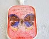 butterfly necklace, vintage stamp necklace, 1966 Papua New Guinea postage stamp butterfly pendant