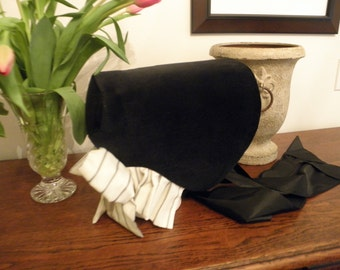 Bonnet Victorian Civil War reenactment black and white, black velveteen