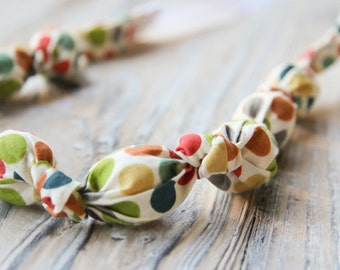 Colorful polka dot organic cotton nursing / babywearing necklace - wooden beads and organic cotton - Free Shipping