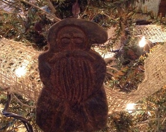 Blackened Beeswax Old Tyme Santa Father Christmas Ornie  #416