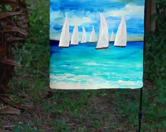 Sunset Sailing Garden Flag from art. Available in 2 sizes