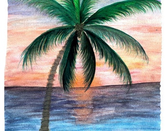 Sunset palm tree throw blanket art on both sides