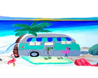 Air stream camper by the beach body pillow case from my art