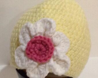Yellow Flowered Beanie
