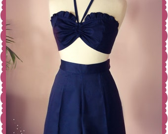Swell Dame 1950s reproduction playsuit in plain color fabrics