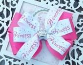 rhinestone tiara on princess ribbon bow
