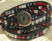 Wrap Five Times Adjustable Beaded Bracelet - Red White and Black Crystal  - Vegan Jewelry For Woman