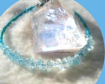 Blue Quart Bracelet, Gemstone Bracelet,Chakra Jewelry,Semi Precious Bracelet, Scuba Blue Pantone Spring 2015,Ready to Ship, Direct Checkout