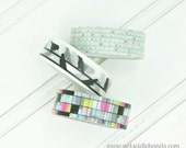 Washi Tape Rolls Choose Your Pattern Grid Hearts, Birds on a Wire, Colorful Crossword, or Choose All 3 Great for Christmas