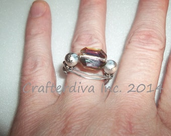 Swarovski Bead Ring, Beaded Ring, Wire Wrapped Ring, Handmade Ring, Jeweled Ring US Size 7-7 1/2