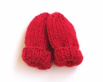 Newborn Baby Mittens, Ready To Ship, 0 to 3 months, Hand Knit Scarlet Red Thumbless Mitts, Warm Winter Clothing Boy or Girl, Infant Mittens
