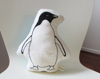organic penguin shaped pillow, penguin cushion,  plush penguin,  arctic animals