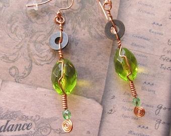Item 9370 Lemon Lime Glass Copper Wire Wrap earrings