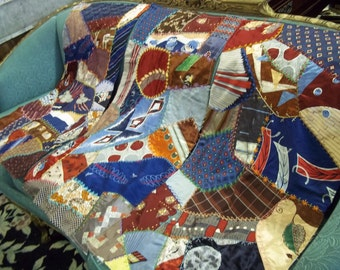 SALE - Antique Silk Tie Quilt Pieces With Fancy Crewel Needlework Stitching from Rustysecrets