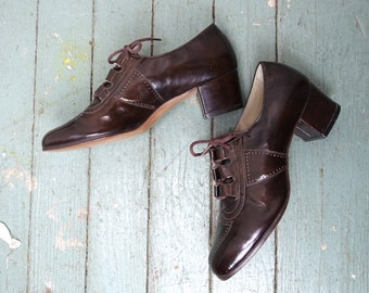 70s Brown Oxford Shoes- Chunky Heel, Square Toe- Women's Size 7 1/2- 1970s- Disco