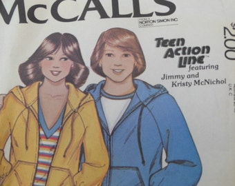 """Way Cool  vintage 1979 McCall's pattern - """"Kristy McNichol"""" Teen Action Line Hoody"""
