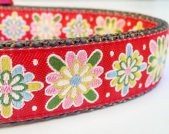 Holiday Blooms - Dog Collar / Handmade / Adjustable / Pet Accessories / Christmas