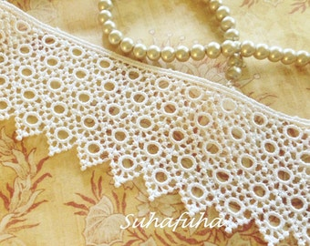 "IVORY Delicate Geometric Pattern Venise Lace Trim 1.75"" wide for Fabric Journals, scrapbooking"