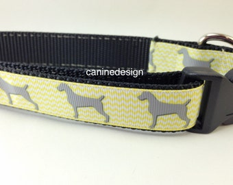 Dog Collar, Weimaraner, 1 inch wide, adjustable, quick release, metal buckle, chain, martingale, hybrid, heavy nylon