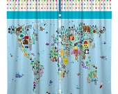 Custom Window Curtain - Animal World Map -Girl or Boy - any size